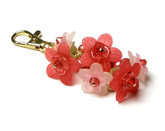 Strawberry Pink Floral Crystal Pearl Cluster Gold Handbag Charm