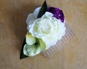 Bridal headpiece Hair Flowers Wedding accessories ivory flower comb ranuculus, purple green bridesmaid hair comb
