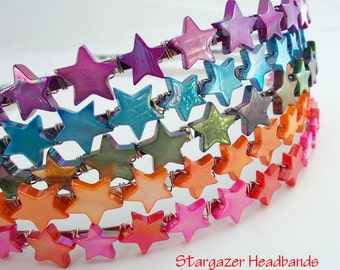 Stargazer Headbands - CANDY - AB mother of pearl stars on metal headband for girls, teens and women by reynared