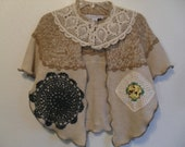 Please do not purchase, reserved for Fern, chic boho romantic upcycled refashioned cream cotton sweater with vintage doilies and tatters