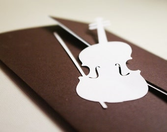 Wedding Invitation Set, Violin and Treble Clef, Classic or Jazz Music Themed Party, Musical Event, Cutout, Scrapbook, Papercut by Naboko