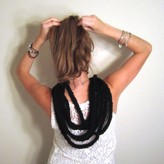 Black Scarf Knit Chunky Necklace - The Towson Cowl