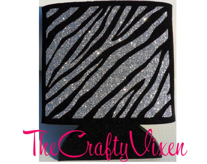 Zebra Print Glitter Can Cooler Assorted Glitter Colors