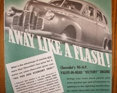 Vintage 1941 Chevrolet Advertisement Paper Ephemera Wall Art Chevy Nostalgia Ad Print Man Cave Garage Decor