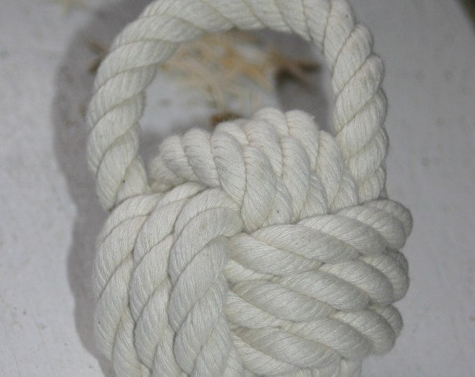 Cotton Rope Book End Door Stop Monkey Fist Hand Knotted Cotton Off White Nautical Nursery