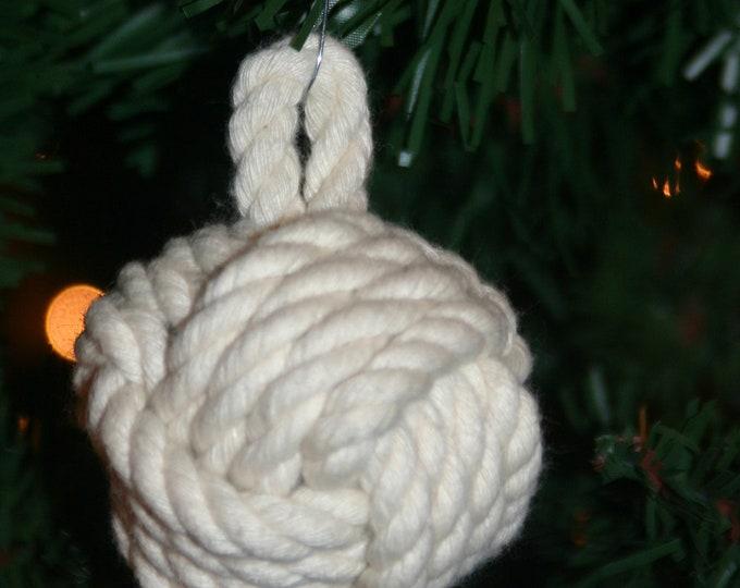 Nautical Christmas Ornament Monkey Fist Knot Cotton Off-White