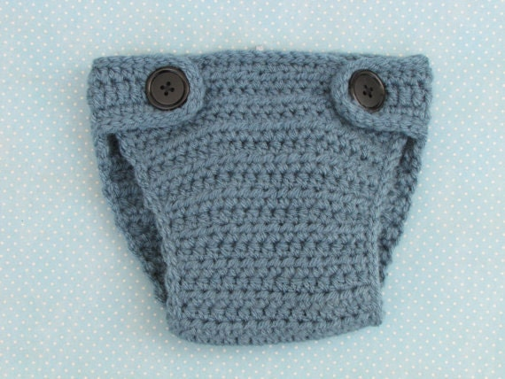Dusty blue crochet diaper cover with black buttons - adjustable crochet diaper cover - 6-12 months size