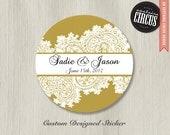 Custom Wedding Stickers - Paisley Lace Wedding Labels