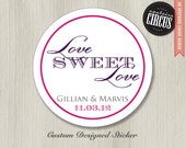 Custom Wedding Stickers - Love Sweet Love Theme