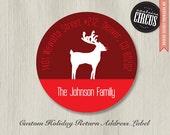 "80 Custom Holiday Address Labels - Modern Reindeer Theme- 2"" Round"