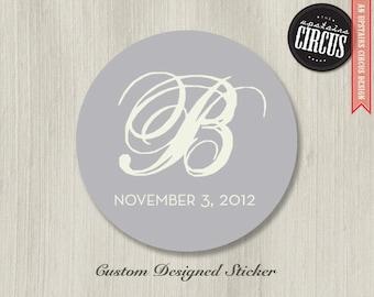 Custom Wedding Stickers - Modern Monogram Wedding Labels