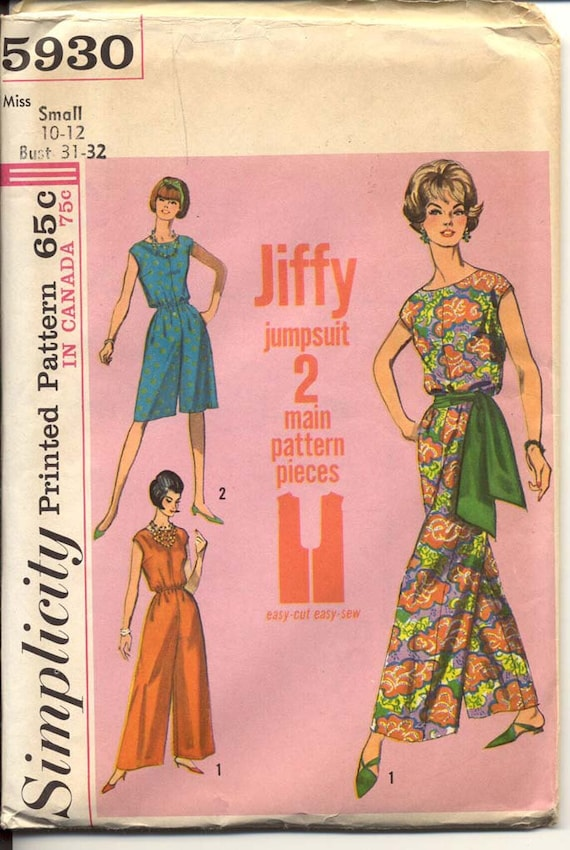 Simplicity 5930 Misses 1960s Jumpsuit Pattern Palazzo Pant 2 Lengths With Waist Sash Jiffy Womens Vintage Sewing Pattern Bust 31 - 32 UNCUT