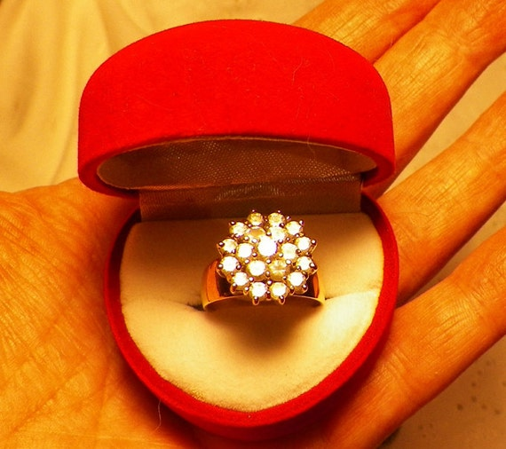 14 k White and Yellow Gold with Diamonds, Engagement Ring, size is around 8 or 8.2