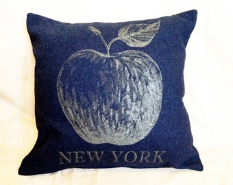 READY TO SHIP: New York Apple Pillow from Military Blanket - Navy Blue