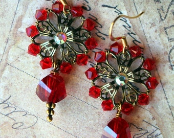 Red Crystals and Czech Glass Antiqued Gold Wire Wrapped Flower Earrings