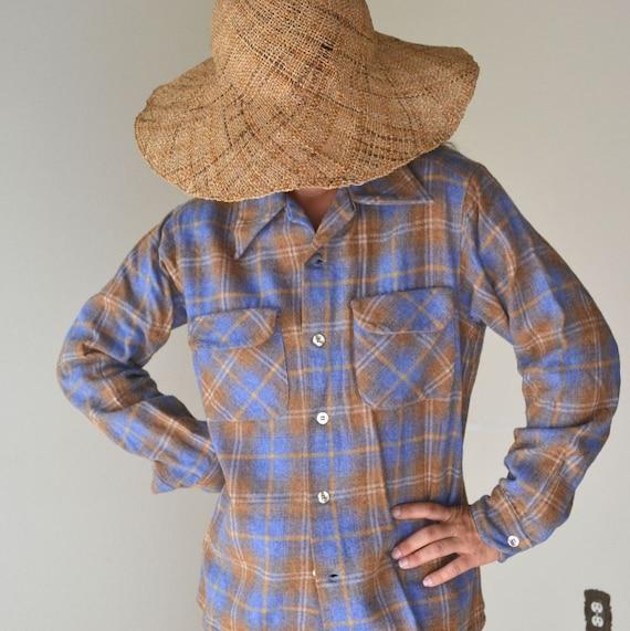 Vintage Pendleton Blue and Burnt Orange Plaid Wool Button Up Medium