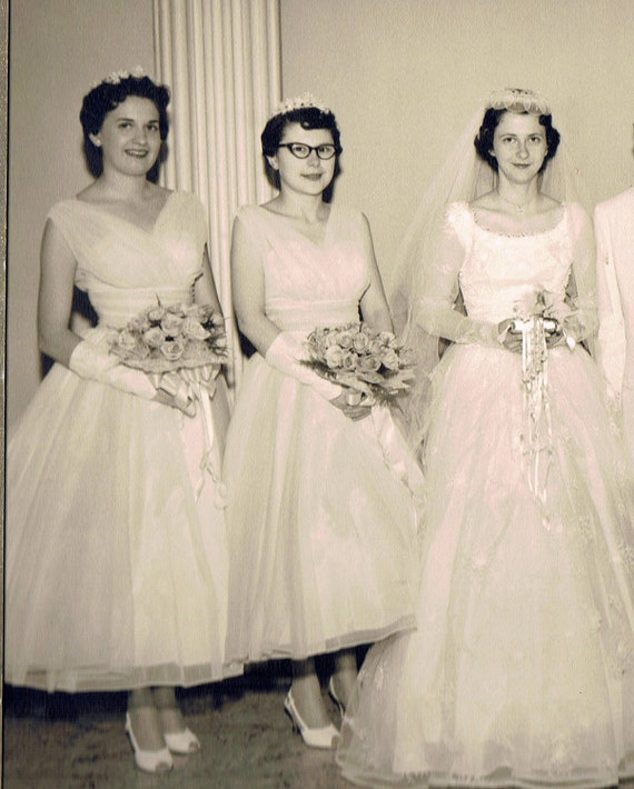 Vintage 1950s Wedding Photograph Portrait Of Bridal Party From