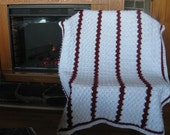 Soft White and Red Stripe Fan Stitch Baby Or Lap Blanket Ready to ship