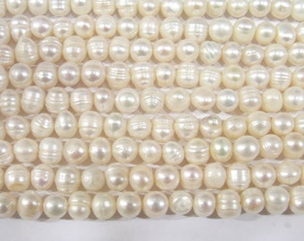 """Freshwater Pearl Beads Genuine Natural Pearl 8-9mm White Offround 15""""L 5365 Wholesale Pearls"""