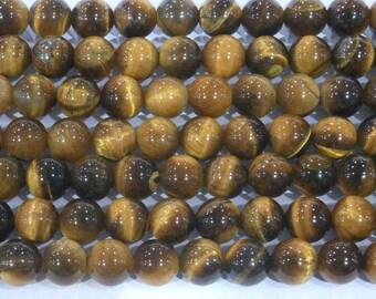 4mm - 14mm Round Tiger Eye Genuine Bead Semiprecious Gemstone Bead Genuine Natural - 5629 15''L Jewelry Supply Wholesale Beads