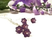 Purple Lucite TULIP and Swarovski NECKLACE and EARRING Set