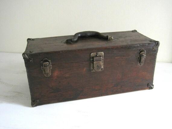 Vintage Wood Tool Box - Rustic Storage