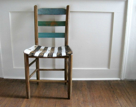 Vintage Painted Ladderback Chair - Shabby Cottage Chic