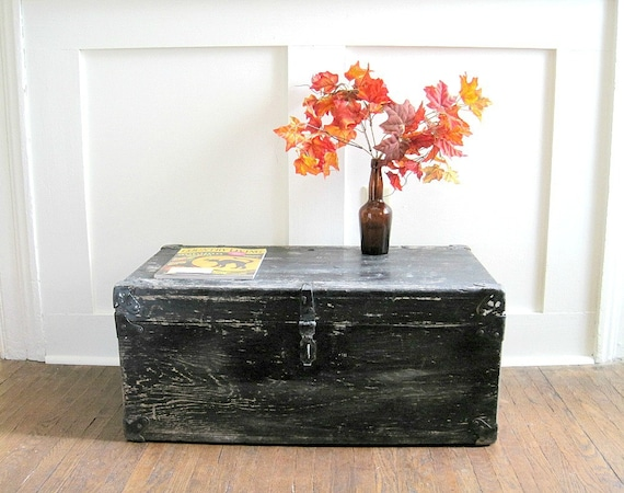 Vintage Wood Trunk Footlocker - Rustic Cottage Chic