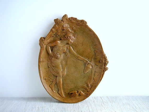 Vintage Neoclassical Wall Plaque - Shabby Chic Cottage