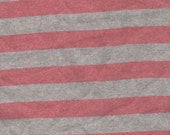 Red and Gray Stripe Cotton Knit, 1 yard