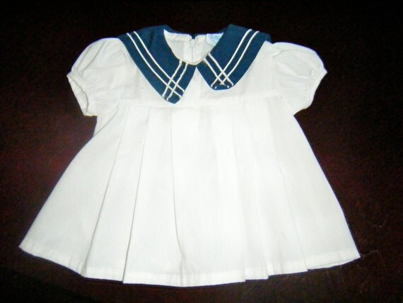 baby girl Cute Nautical Preppy Sailor Dress