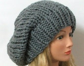 Made to Order - Chunky Knit Silver Gray Slouchy Beret Hat