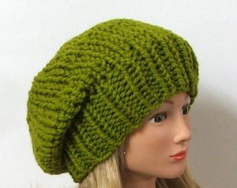 Ready to Ship - Chunky Knit Lemongrass Slouchy Beret Hat