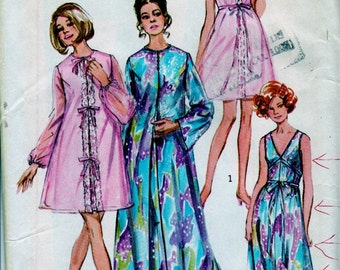 Vintage 60's Simplicity Pattern Nightgown and Robe Size 12