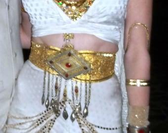 Sparkle Hip Drape Cream Gold Large Sequin