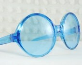 60s Sunglasses 1960s Round Sunglass Clear Turquoise Blue Translucent Circle Frame NOS 48/20 by Nilsol Italy