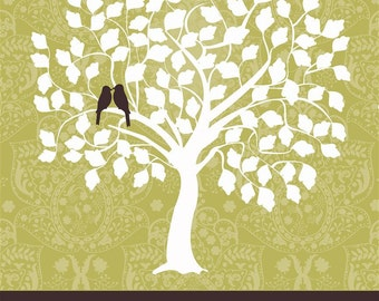 """Wedding Guest Book Signature Tree - Custom Sage Tree - 16"""" x 20"""" - Signature Only - Up to 100 guests"""