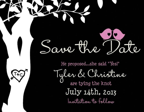 Custom Save the Date Magnet Listing for CVJLindsay - Love birds in a tree