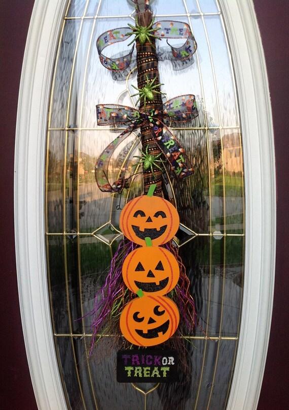 "Halloween Wreath Twig Vertical Broom Door Decor..""Trick or Treat"" Ready to Ship"