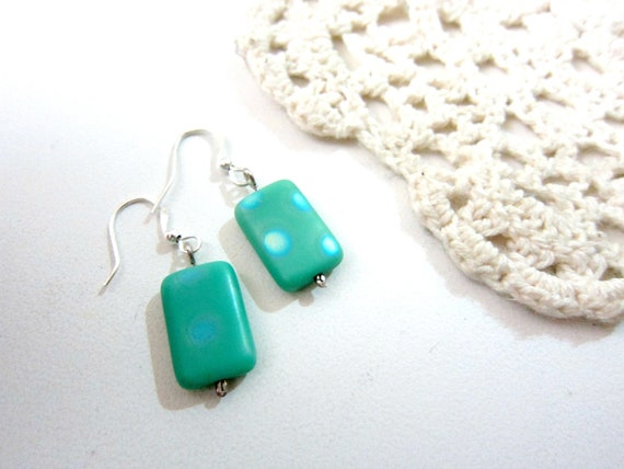 OOAK Turquoise Polka dots Silver Plated Earrings