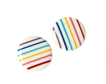 Amazing 80s Vintage Rainbow Striped Plastic Button Earrings