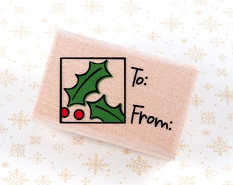Wood Mounted Rubber Stamp - Holly Gift Tag