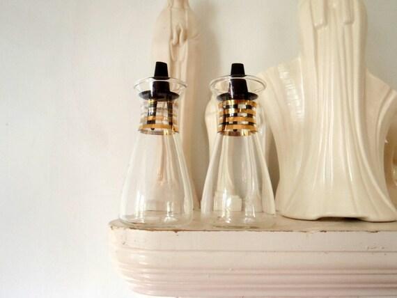 Pyrex Oil and Vinegar Bottle Carafe Pair Vintage Atomic Kitchen