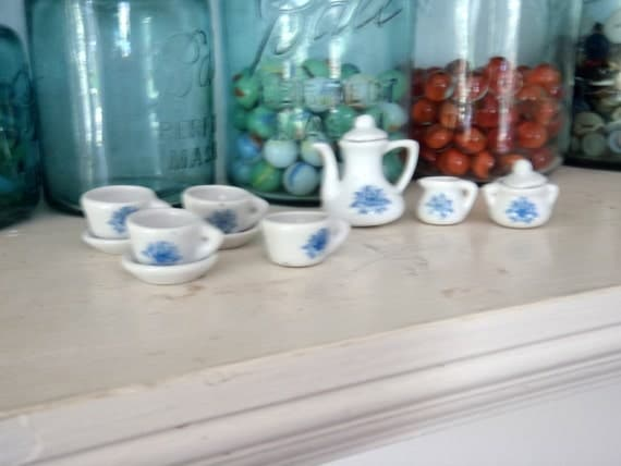 Miniature Tea Set Ceramic Tea Set Vintage Toy