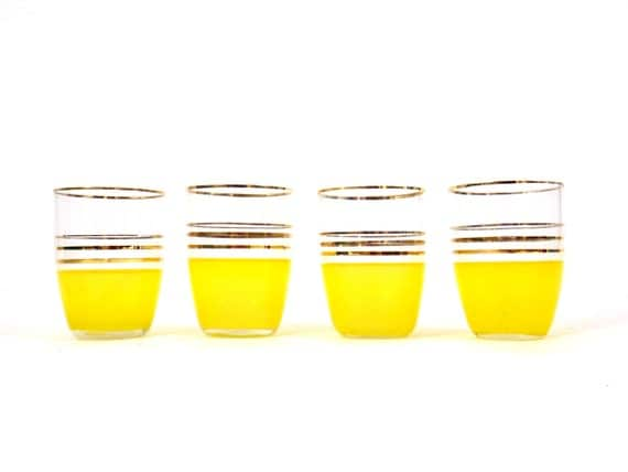 Glasses Juice Glasses 1950s 50s set of 4 Yellow Vintage Cups