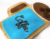 Personalized Felt Coffee Mug Phone Case, Hand Embroidered Case, Any Name Custom Stitched