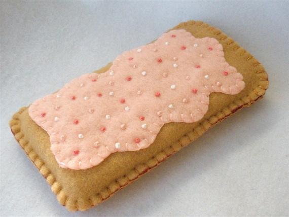 Strawberry Toaster Pastry Felt Phone Case, Breakfast Tart Phone Cozy ...