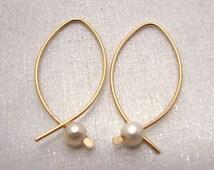 Gold Earrings - Fish hoop earrings - Pearl earrings - Rose Gold earrings - Silver hoops - minimalist earrings - wire earrings - WaterLelie