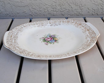 Vintage LIMOGES USA 22K Gold Warranted Rosalie Pattern Oval Platter.
