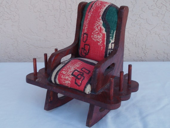 Vintage wood old granny rocking chair pin cushion by
